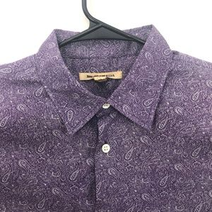 John Varvatos Paisley Button Shirt Purple Large